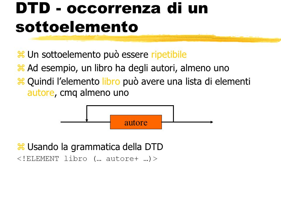 DTD - occorrenza di un sottoelemento