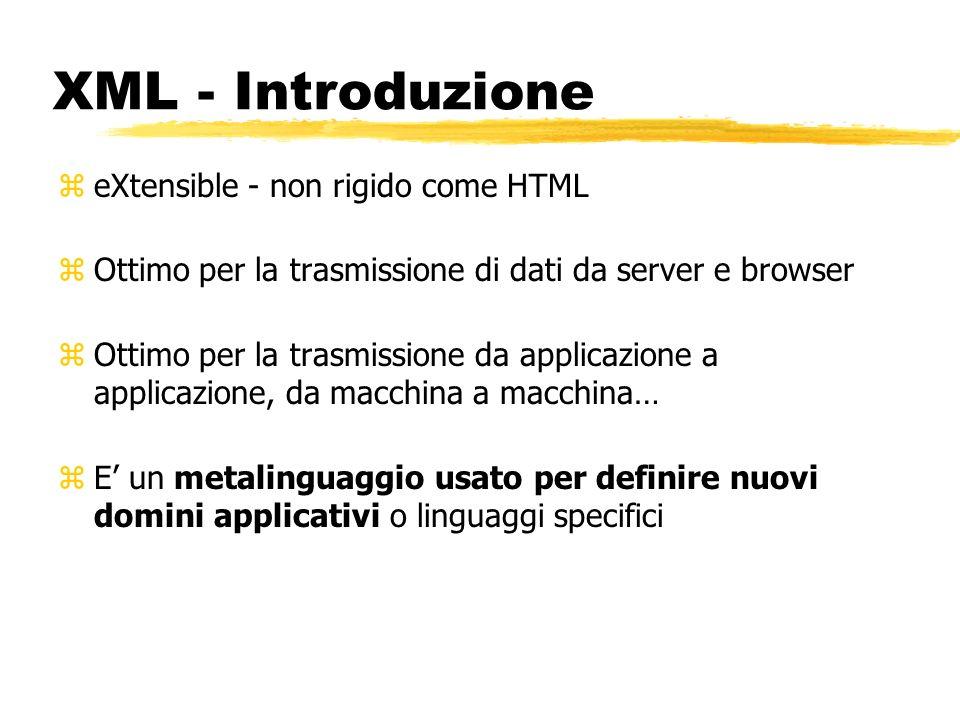 XML - Introduzione eXtensible - non rigido come HTML