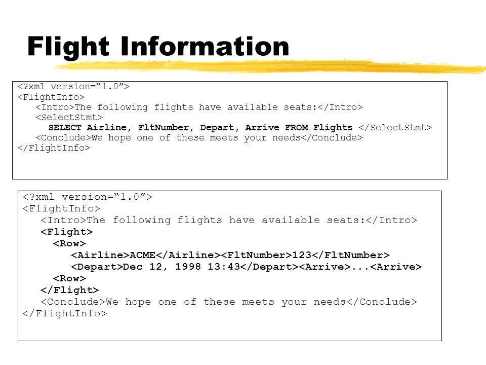Flight Information < xml version= 1.0 > <FlightInfo>