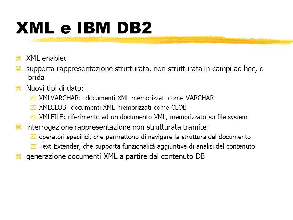 XML e IBM DB2XML enabled. supporta rappresentazione strutturata, non strutturata in campi ad hoc, e ibrida.