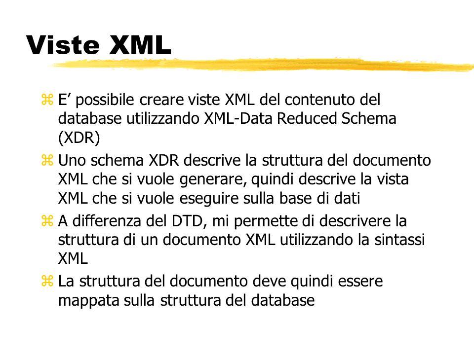 Viste XML E' possibile creare viste XML del contenuto del database utilizzando XML-Data Reduced Schema (XDR)