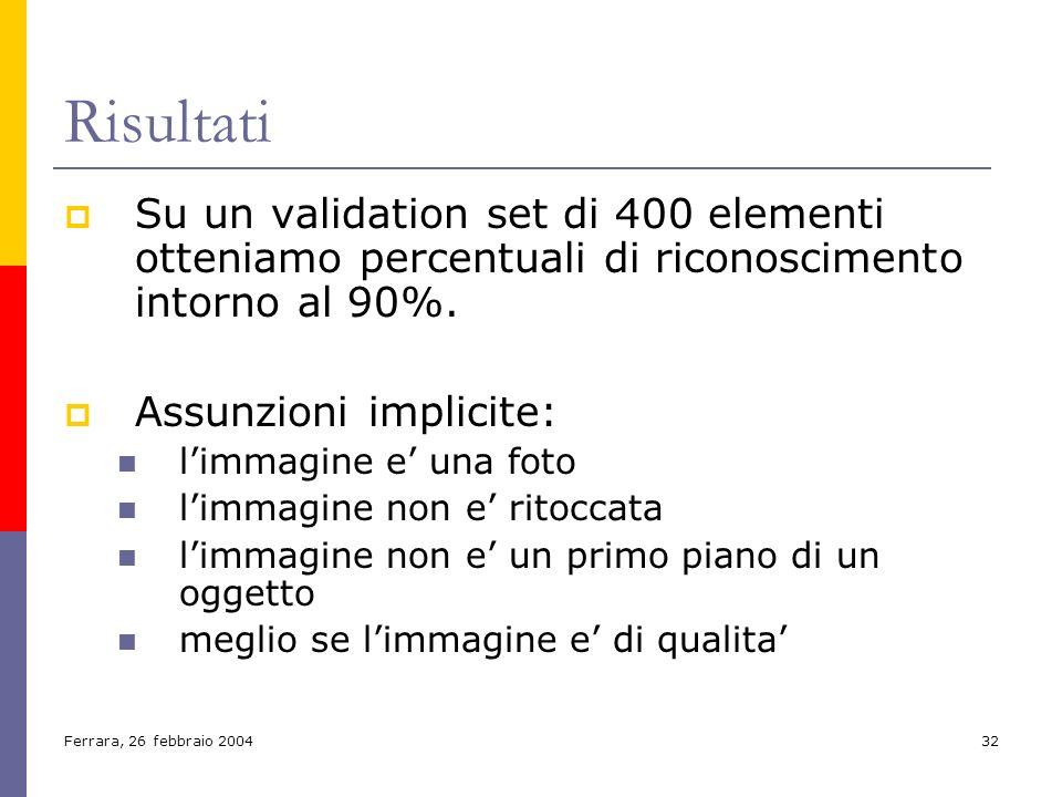 Risultati Su un validation set di 400 elementi otteniamo percentuali di riconoscimento intorno al 90%.