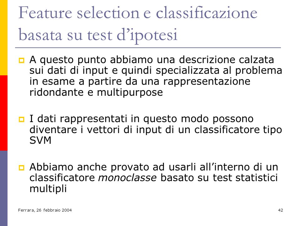 Feature selection e classificazione basata su test d'ipotesi