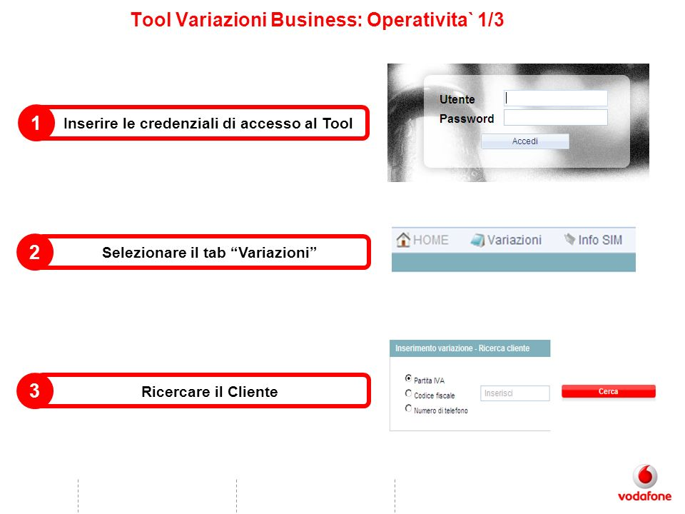 Tool Variazioni Business: Operativita` 1/3