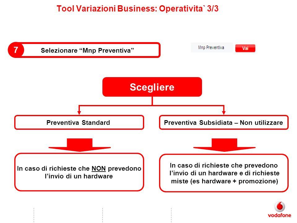 Tool Variazioni Business: Operativita` 3/3