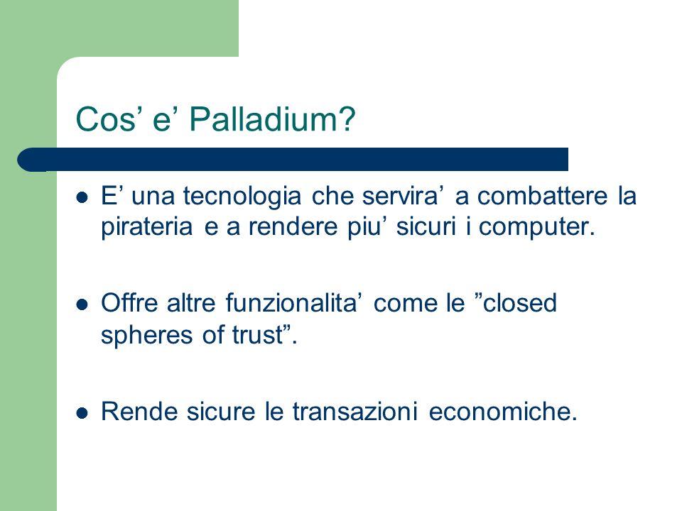 Cos' e' Palladium E' una tecnologia che servira' a combattere la pirateria e a rendere piu' sicuri i computer.
