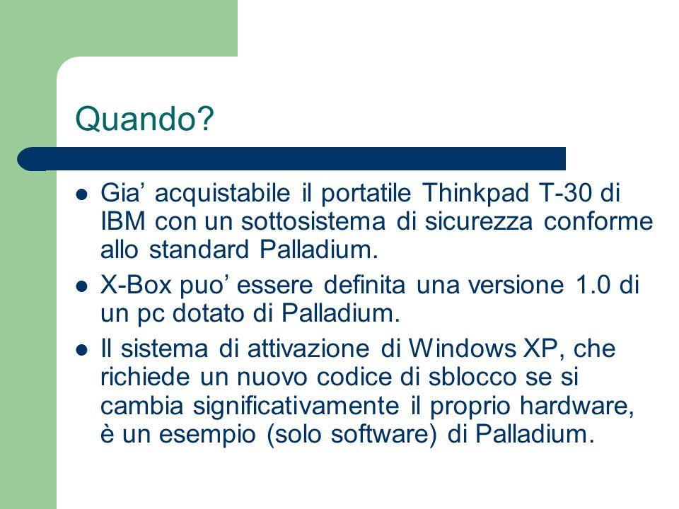 Quando Gia' acquistabile il portatile Thinkpad T-30 di IBM con un sottosistema di sicurezza conforme allo standard Palladium.