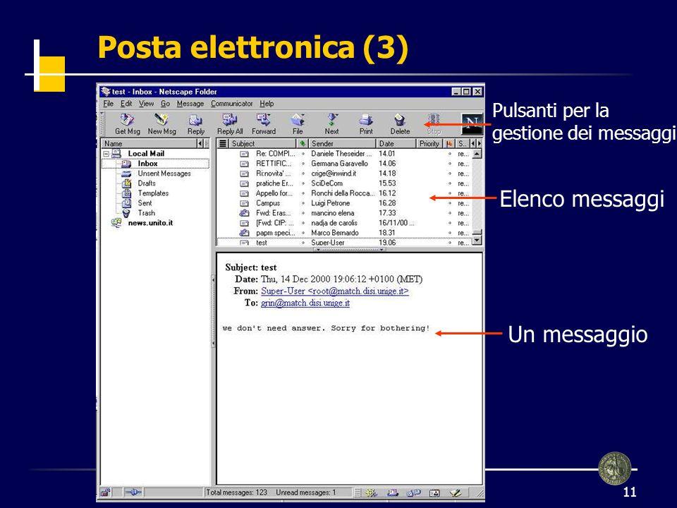 Posta elettronica (3) Elenco messaggi Un messaggio Pulsanti per la