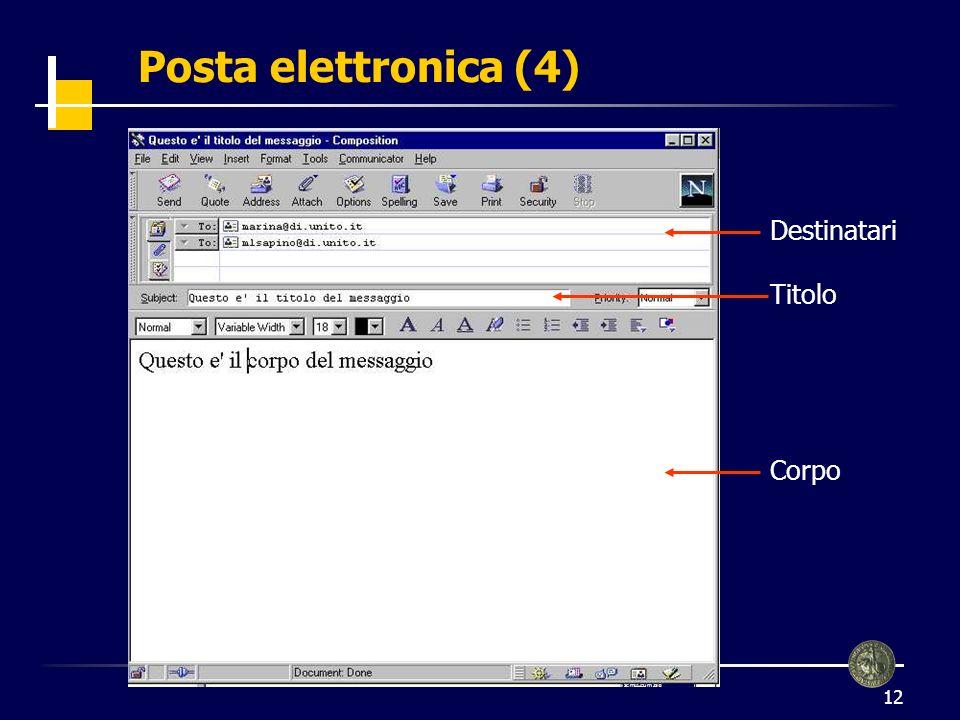 Posta elettronica (4) Destinatari Titolo Corpo