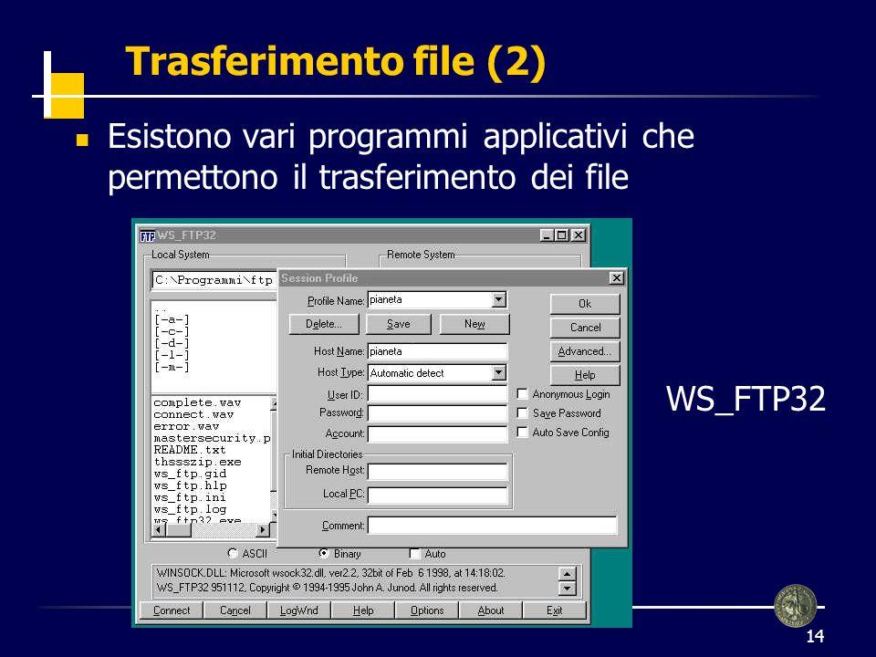Trasferimento file (2) Esistono vari programmi applicativi che permettono il trasferimento dei file.