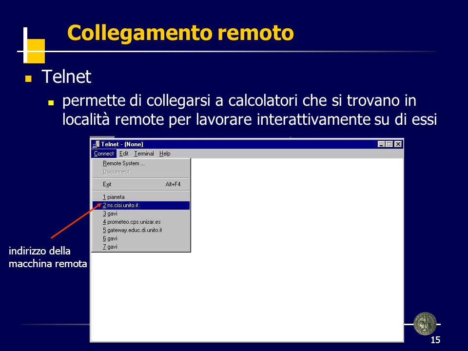 Collegamento remoto Telnet