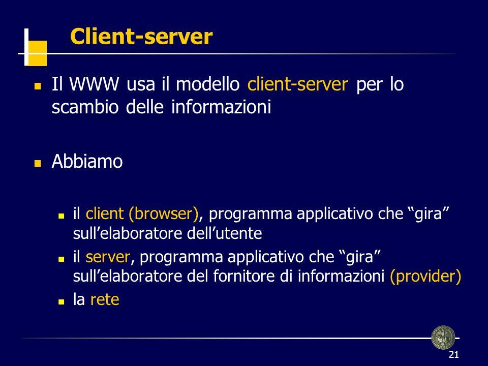 Client-server Il WWW usa il modello client-server per lo scambio delle informazioni. Abbiamo.