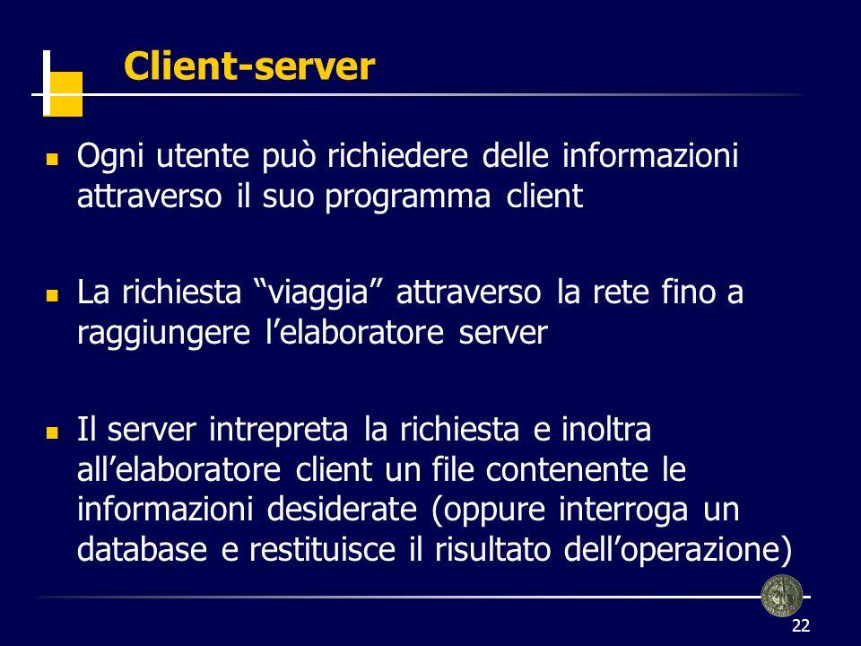 Client-server Ogni utente può richiedere delle informazioni attraverso il suo programma client.