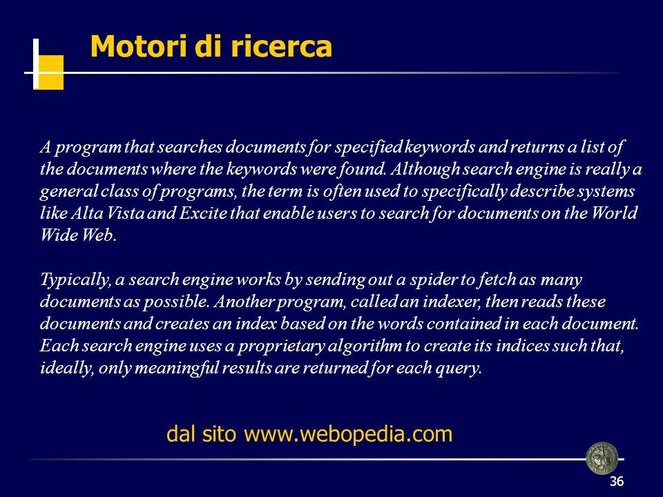 Motori di ricerca dal sito www.webopedia.com