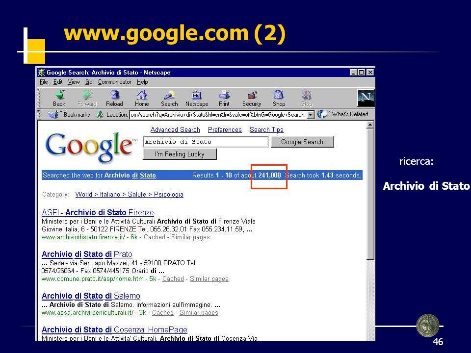 www.google.com (2) ricerca: Archivio di Stato