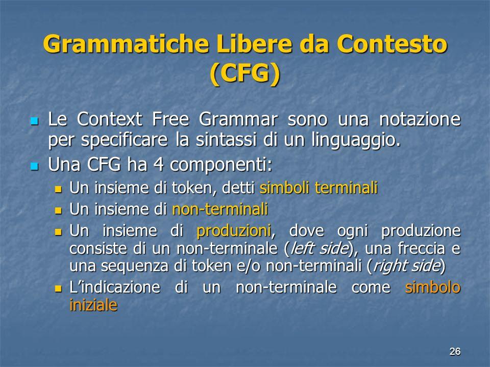 Grammatiche Libere da Contesto (CFG)