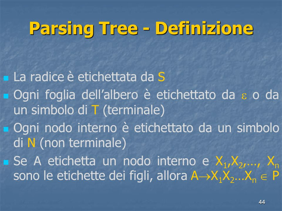 Parsing Tree - Definizione