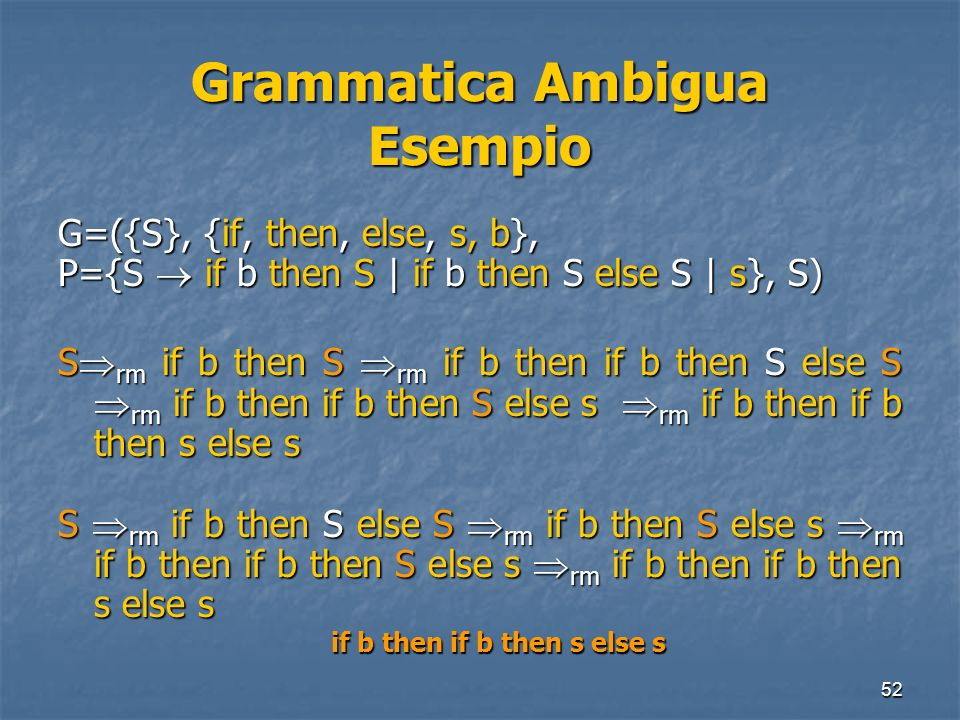 Grammatica Ambigua Esempio
