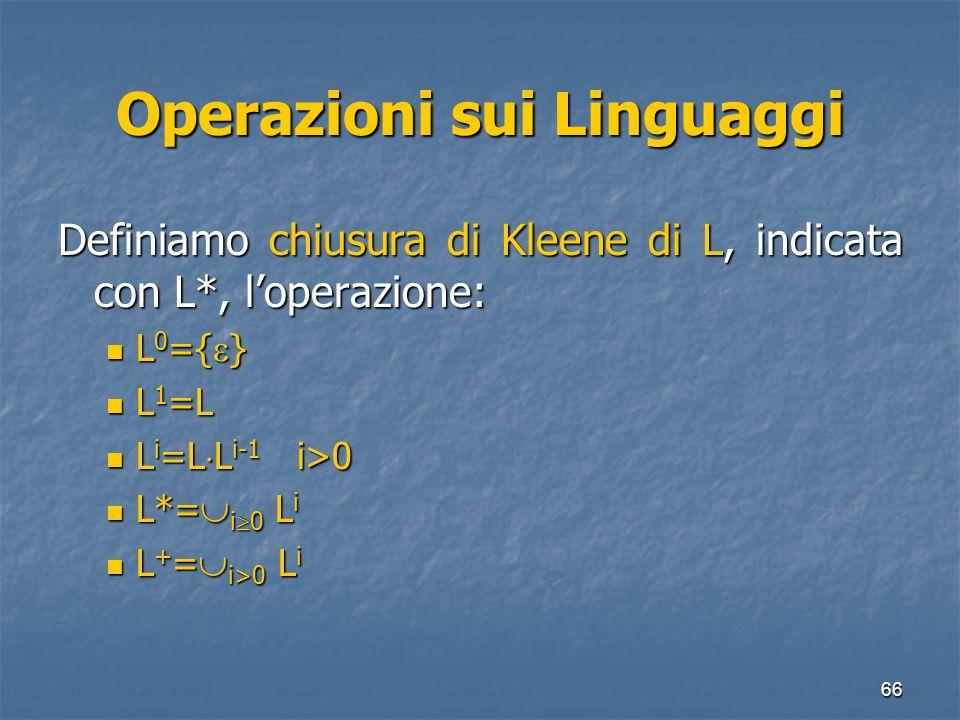 Operazioni sui Linguaggi