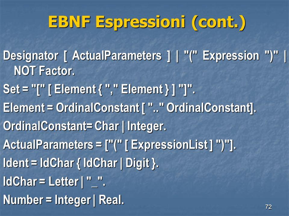 EBNF Espressioni (cont.)