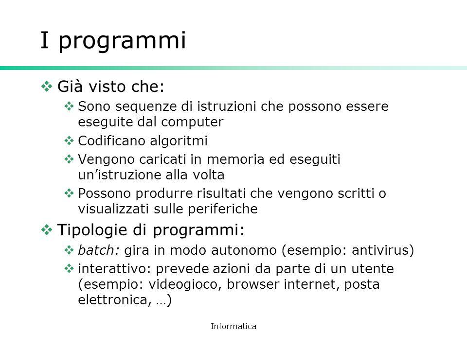 I programmi Già visto che: Tipologie di programmi: