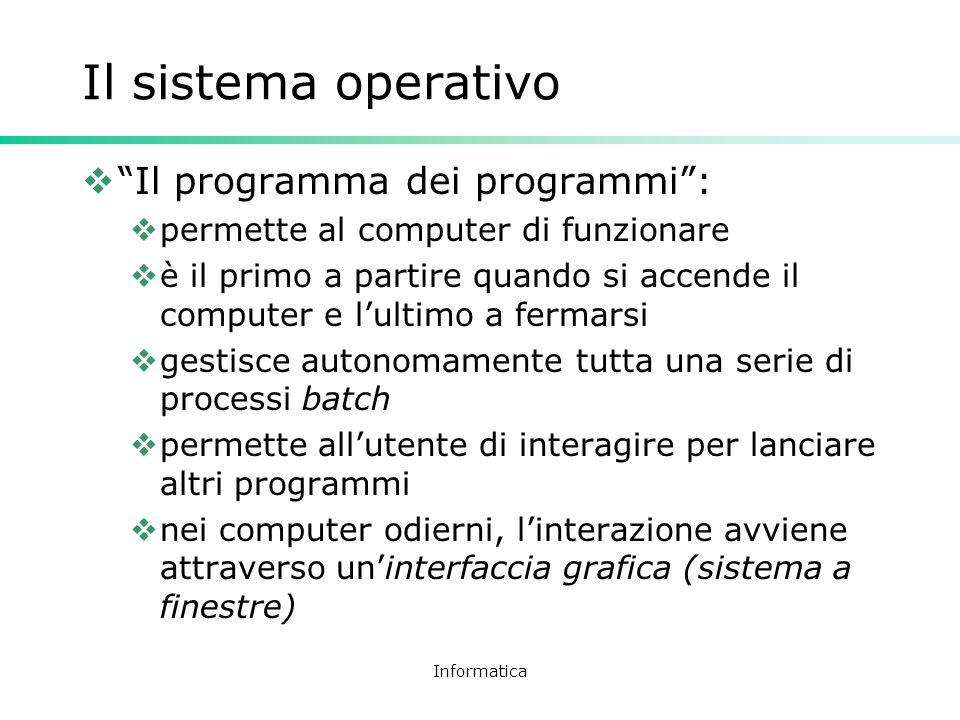 Il sistema operativo Il programma dei programmi :