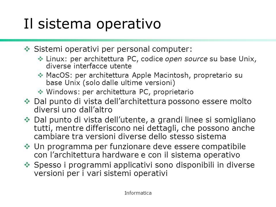 Il sistema operativo Sistemi operativi per personal computer: