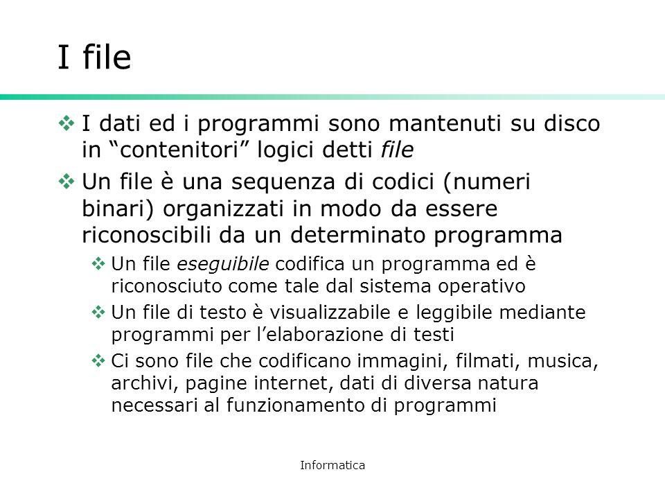 I file I dati ed i programmi sono mantenuti su disco in contenitori logici detti file.