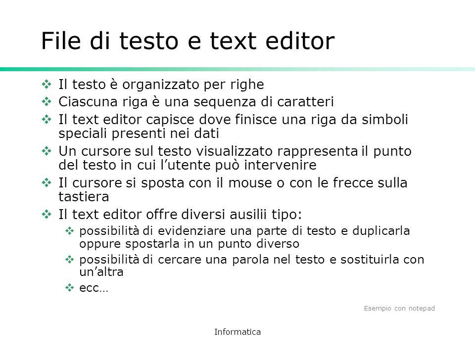File di testo e text editor