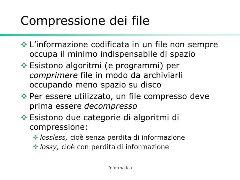 Compressione dei file L'informazione codificata in un file non sempre occupa il minimo indispensabile di spazio.