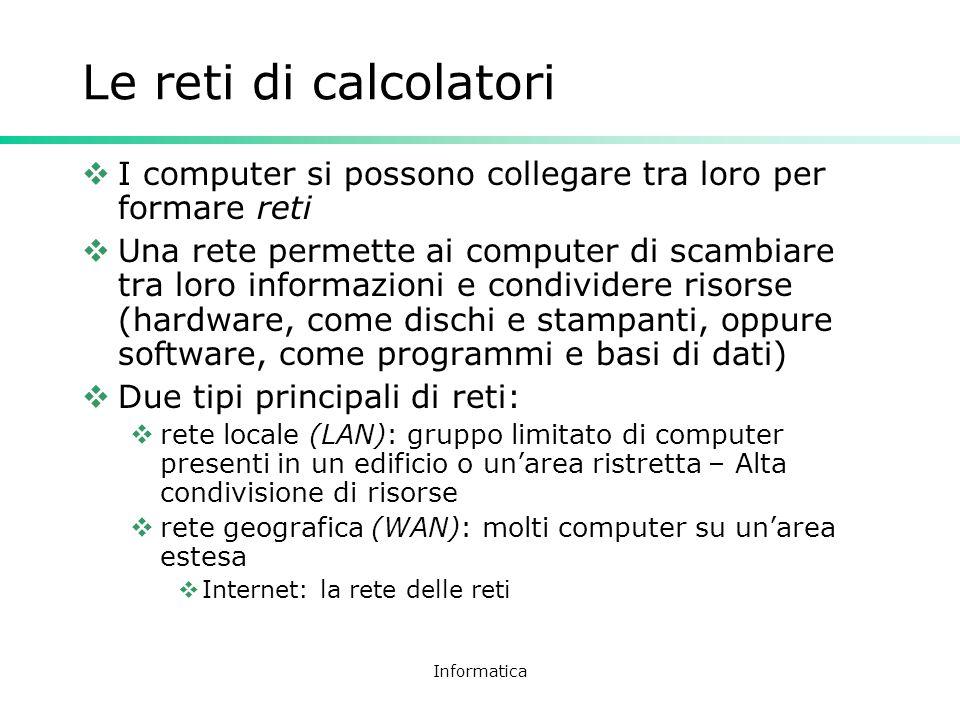 Le reti di calcolatori I computer si possono collegare tra loro per formare reti.