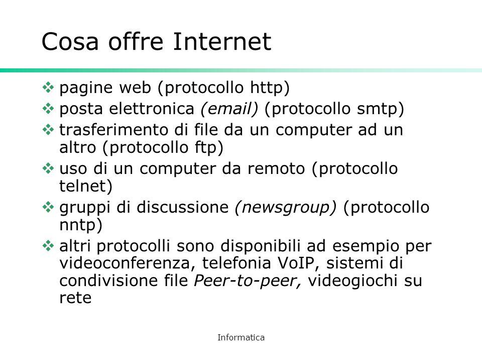 Cosa offre Internet pagine web (protocollo http)
