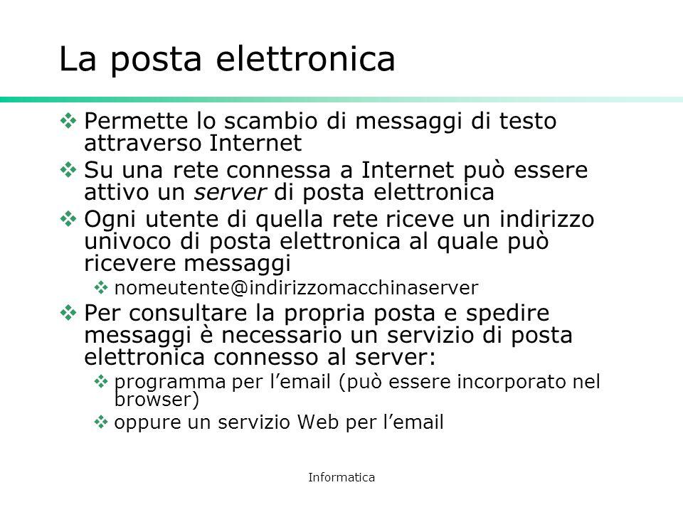 La posta elettronica Permette lo scambio di messaggi di testo attraverso Internet.