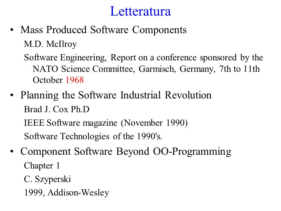 Letteratura Mass Produced Software Components