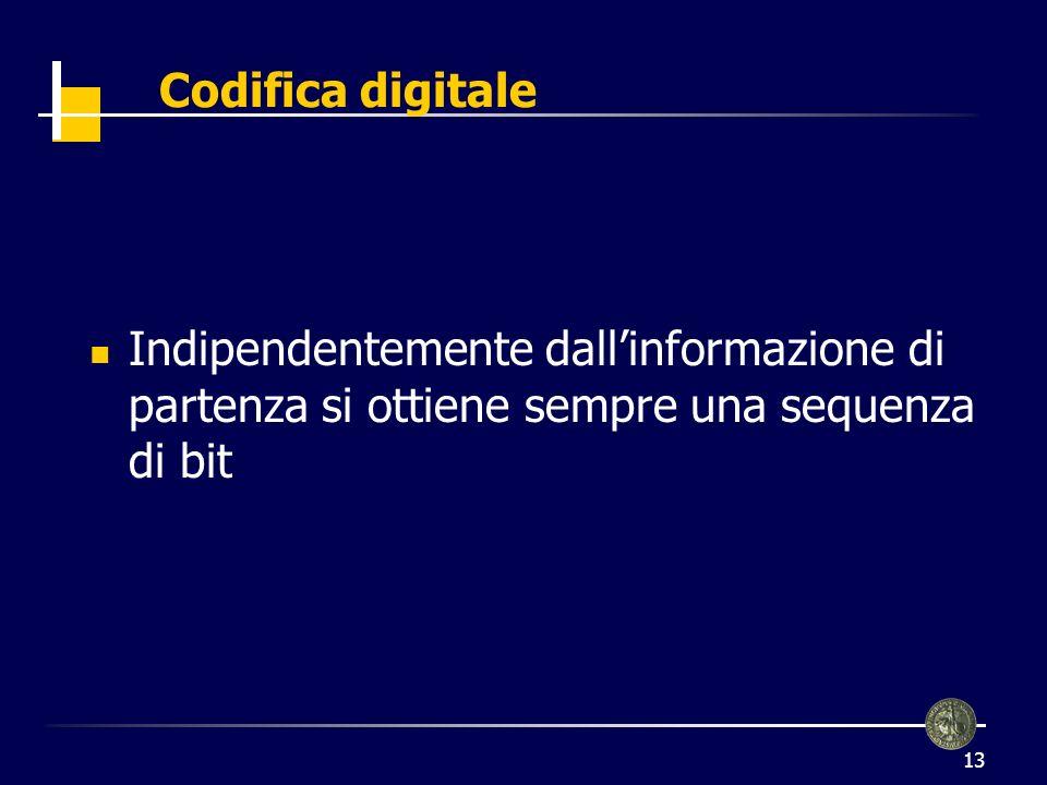 Codifica digitale Indipendentemente dall'informazione di partenza si ottiene sempre una sequenza di bit.