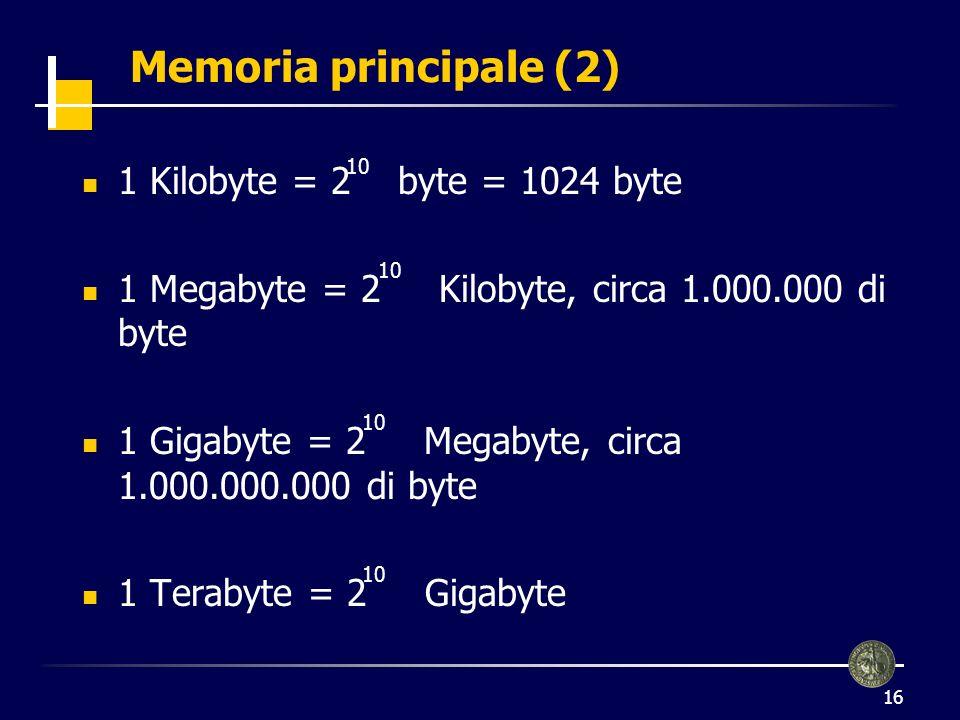 Memoria principale (2) 1 Kilobyte = 2 byte = 1024 byte