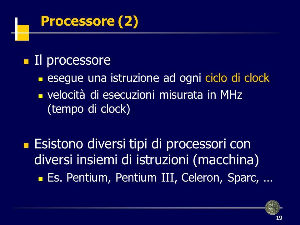 Processore (2) Il processore