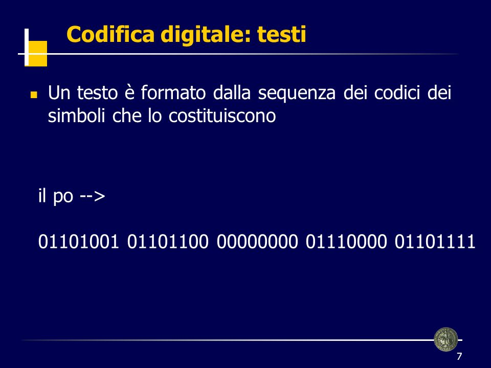 Codifica digitale: testi