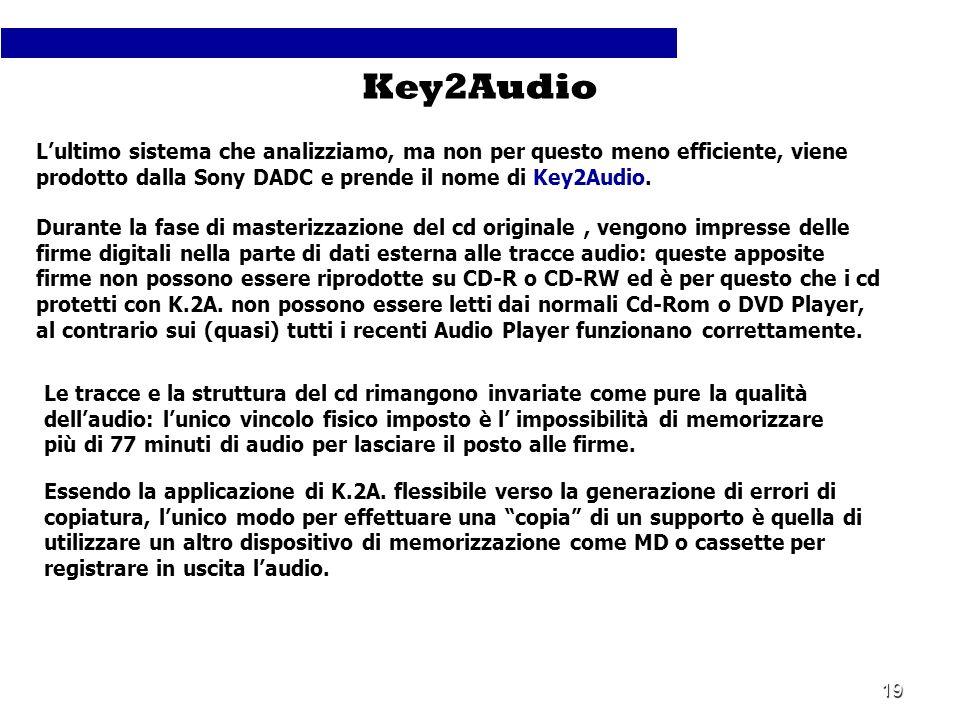 Key2Audio L'ultimo sistema che analizziamo, ma non per questo meno efficiente, viene prodotto dalla Sony DADC e prende il nome di Key2Audio.