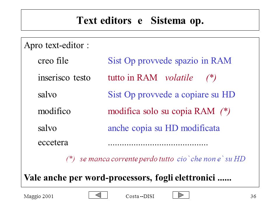 Text editors e Sistema op.