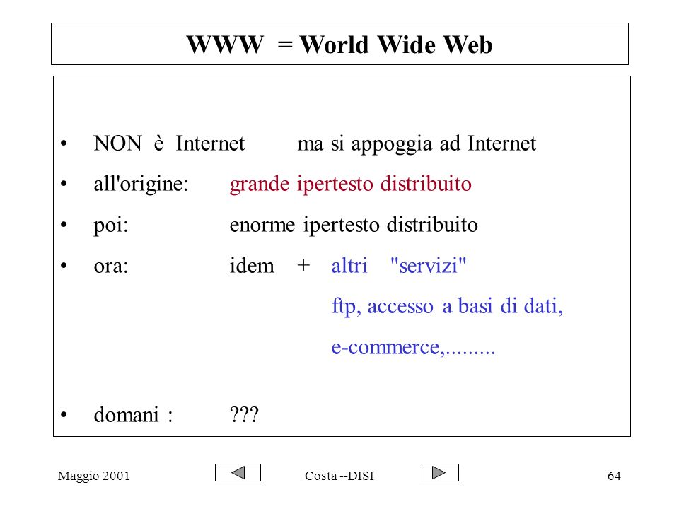 WWW = World Wide Web NON è Internet ma si appoggia ad Internet