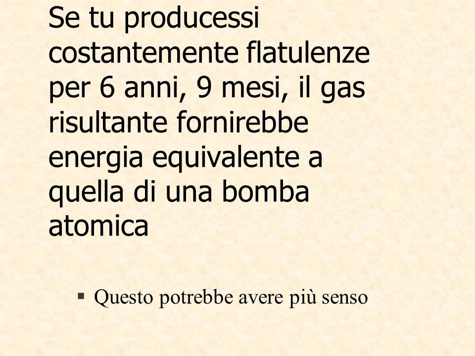 Se tu producessi costantemente flatulenze per 6 anni, 9 mesi, il gas risultante fornirebbe energia equivalente a quella di una bomba atomica