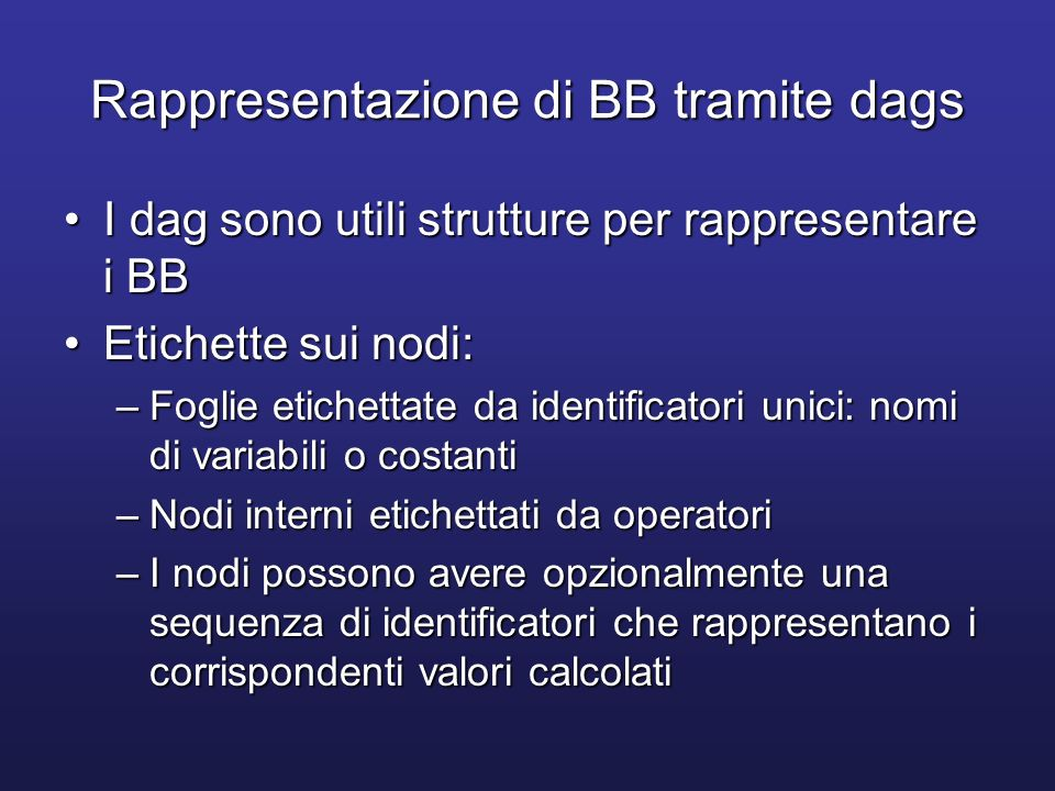 Rappresentazione di BB tramite dags