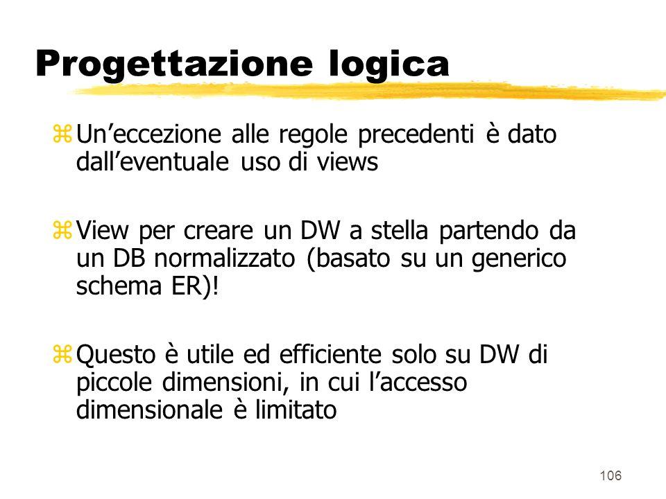 Progettazione logica Un'eccezione alle regole precedenti è dato dall'eventuale uso di views.