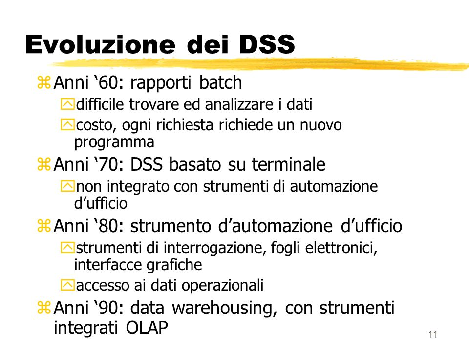 Evoluzione dei DSS Anni '60: rapporti batch
