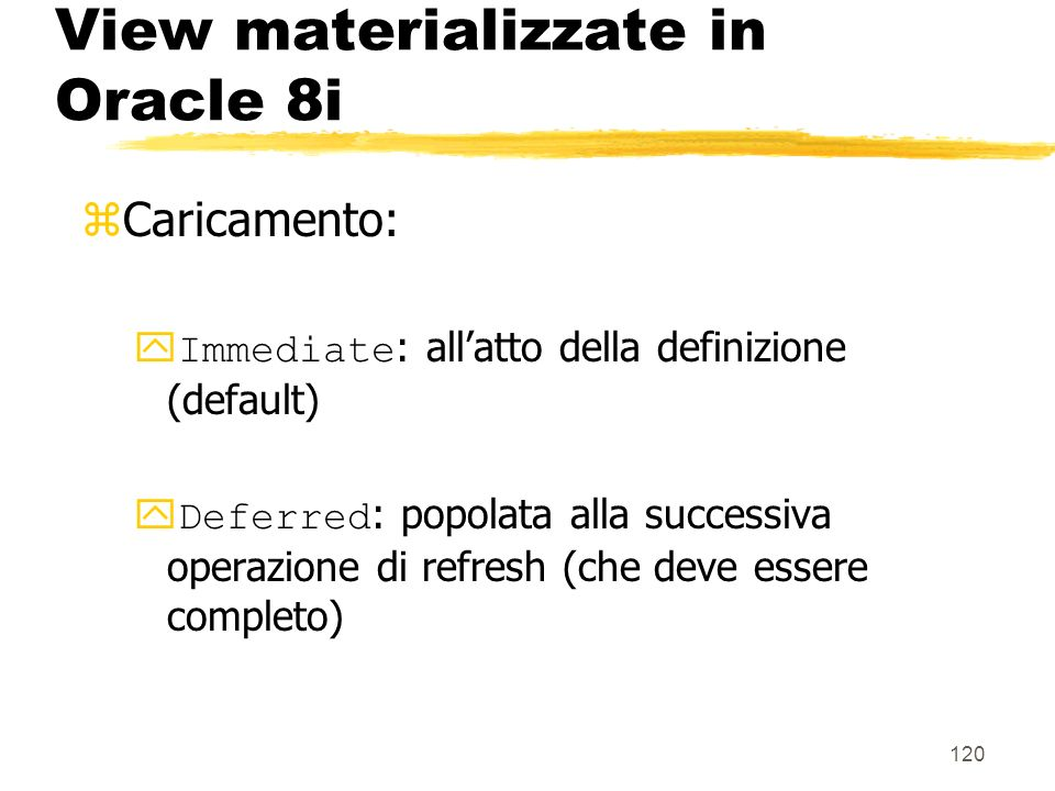 View materializzate in Oracle 8i