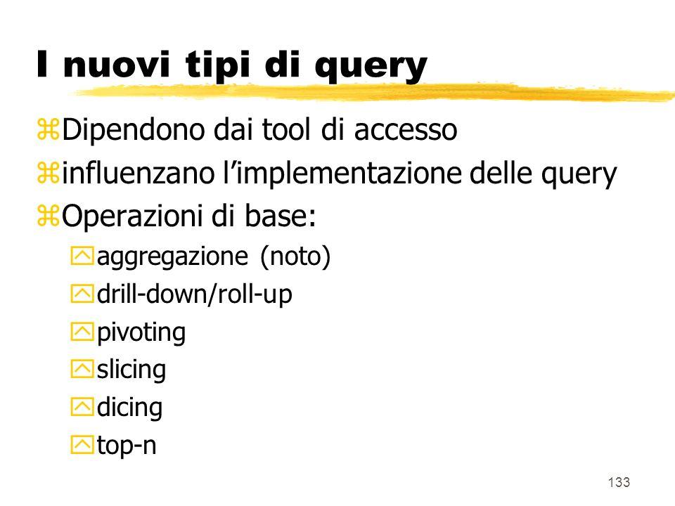 I nuovi tipi di query Dipendono dai tool di accesso