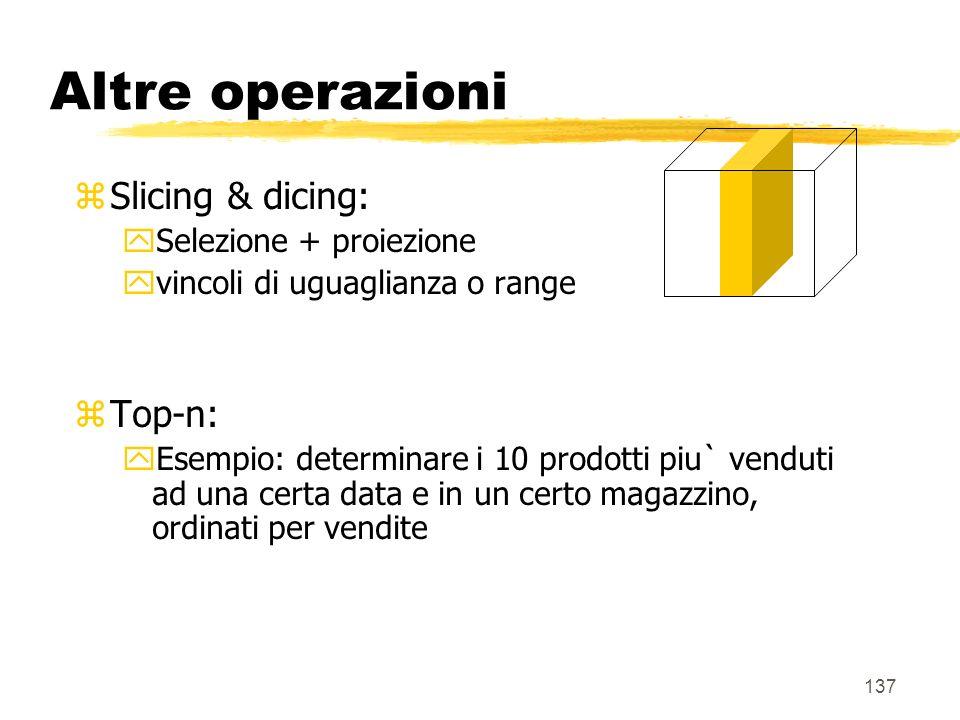 Altre operazioni Slicing & dicing: Top-n: Selezione + proiezione