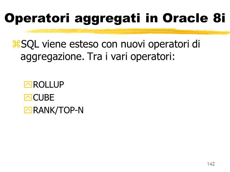 Operatori aggregati in Oracle 8i