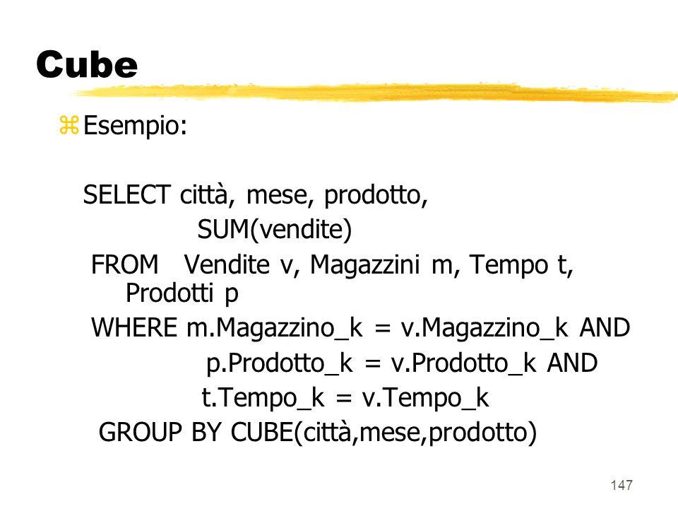Cube Esempio: SELECT città, mese, prodotto, SUM(vendite)